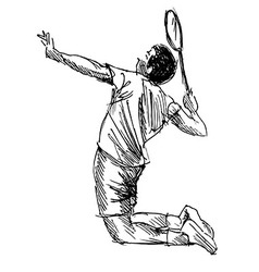Hand sketch badminton player vector image vector image