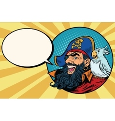 Happy pirate with a parrot pop art comic bubble vector