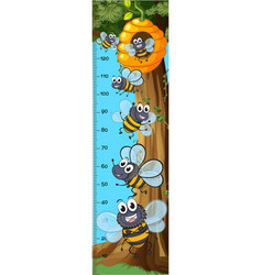 Height measurement chart bees flying vector