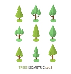 Isometric tree set 3 vector image vector image