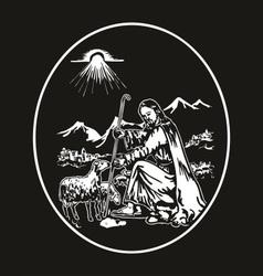 jesus the shepherd vector image vector image