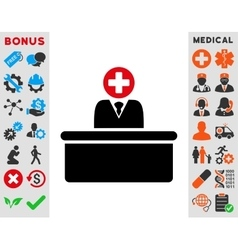 Medical bureaucrat icon vector