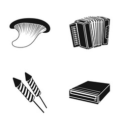 Mushroom accordion and other web icon in black vector