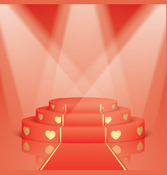 Red scene with golden hearts and carpet vector