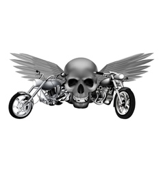 road motorcycles on the background of a skull vector image vector image