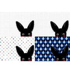 Set Black Rabbit Background-01 vector image vector image
