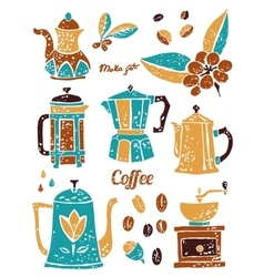 Set of coffee pots in naive lino style vector