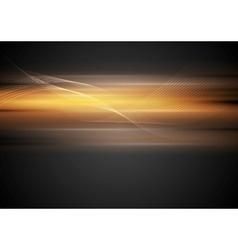 Shiny glowing orange waves on dark background vector