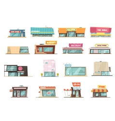 Shop building set vector