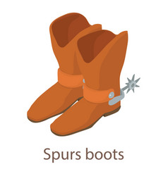 spurs boots icon isometric 3d style vector image