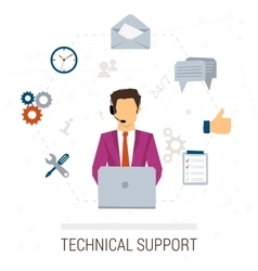 Technical support flat style woman and icons vector