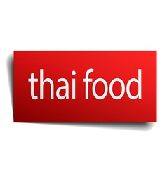 Thai food red paper sign on white background vector