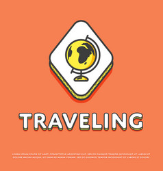 Traveling colour icon with globe vector