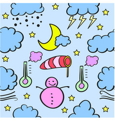 Weather with cloud style doodles vector