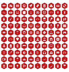 100 entertainment icons hexagon red vector