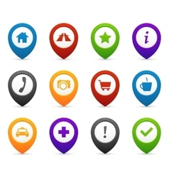 Mapping push pins with location icons for web and vector image
