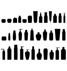 black cosmetic icon set vector image