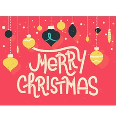 Merry christmas lettering with christmas ornaments vector