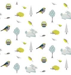 Blue bunny green hedgehog forest seamless pattern vector