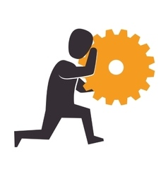 Human figure with gear setting isolated icon vector