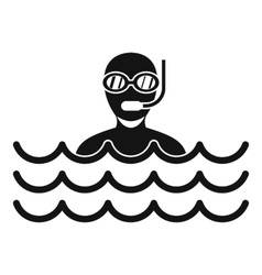 Man with scuba icon simple style vector