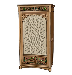 Jugendstil wardrobe with mirror vector