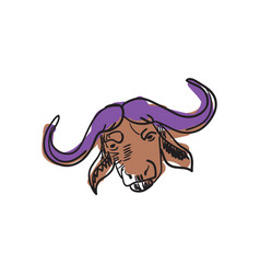 Buffalo head hand drawn isolated icon vector