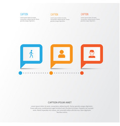Human icons set collection of user jogging vector