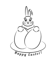 Easter bunny with eggs monochrome pattern on a vector