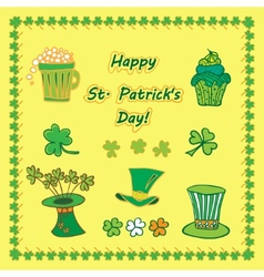 Set irish st patrick day pattern with flat symbols vector
