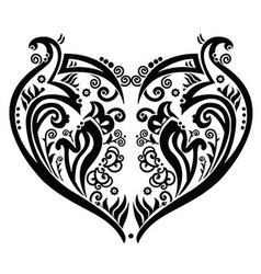 Swirly heart tatoo inspired vector