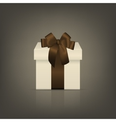 White square gift box with brown ribbon and bow vector