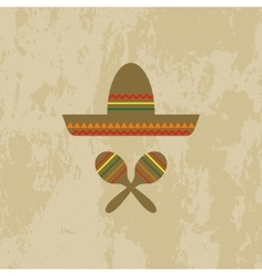 Mexican hat and maracas vector