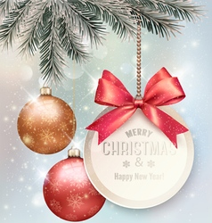Christmas background with colorful balls and gift vector image