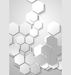 Light grey tech background with hexagons vector