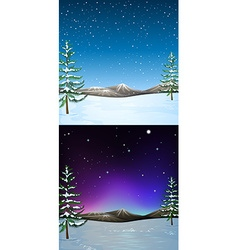 Nature scene with snow falling vector