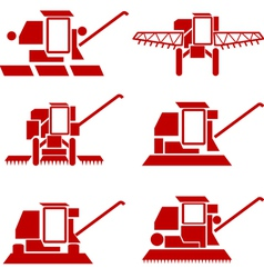 Agricultural vehicles harvesting combine silhouett vector