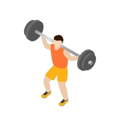 Man lifting barbell icon isometric 3d style vector