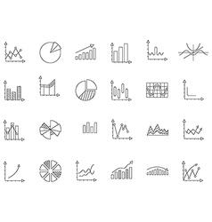 Charts black icons set vector