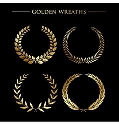 Set of golden wreaths vector