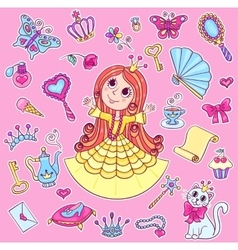 Cute princess sticker set vector