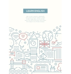 Education composition - line flat design banner vector