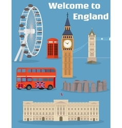 Set of the london famous place and landmark vector