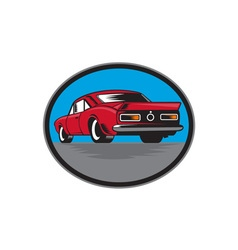 American vintage muscle car rear woodcut vector