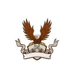 Bald eagle crossed 45 caliber pistols shield retro vector