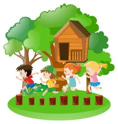 Boys and girls in the garden vector