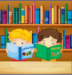 boys reading books in library vector image vector image