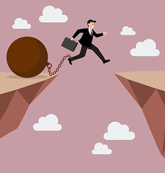 Businessman jumps the abyss with the weight vector