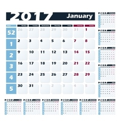 Calendar 2017 design template Week starts vector image