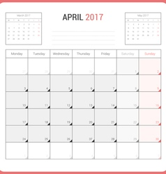 Calendar planner for april 2017 vector
